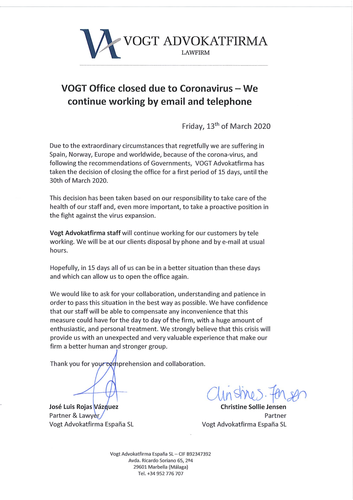 Vogt offices closed